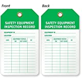 "Safety Equipment Inspection Record - No Eyelet, Eco-Tag 10 mil Plastic, 100 Tags / Pack, 5.875"" x 3.375"" - This Inspection and Status Record Tag helps you keep a record of your safety equipment's inspections."