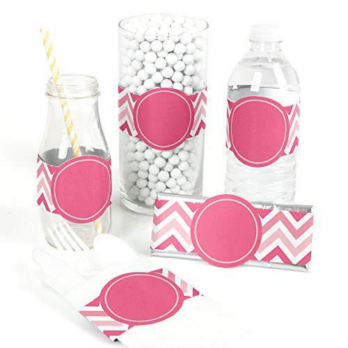 (Chevron Pink - DIY Party Supplies - Bridal, Baby Shower or Birthday Party DIY Wrapper Favors & Decorations - Set of)