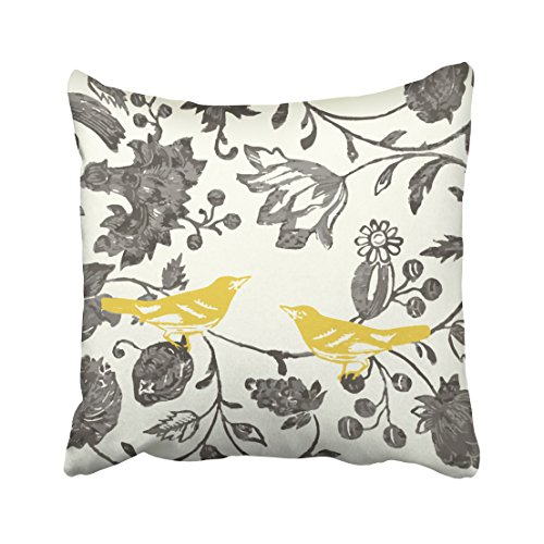 Emvency Decorative Throw Pillow Cover Square Size 16x16 Inches Trendy Yellow Gray Ivory Vintage Floral Bird Lumbar Pillowcase with Hidden Zipper Decor Cushion Gift for Holiday Sofa Bed
