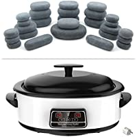 MassageMaster HOT STONE MASSAGE KIT: 27 Basalt stenen + warmteapparaat 6 liter