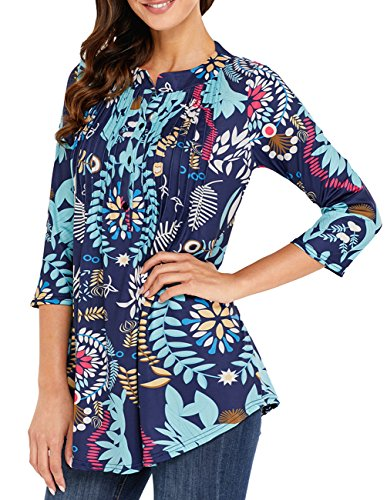 Womens Floral Print Blouse Tops 3/4 Long Sleeves Casual Loose Floral Tunic Button Up Print Shirts White Blue