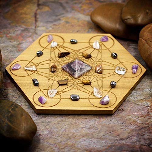 Break Addictions Mini Crystal Grid Set with 6 inch Sacred Geometry Grid Board, and Super Seven, Tiger Eye, Hematite, Clear Quartz, and Lilac Amethyst
