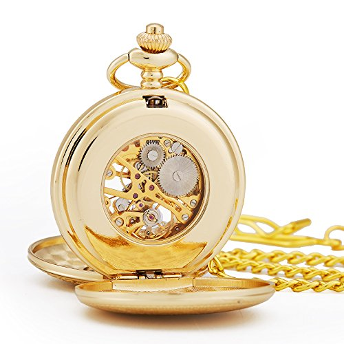 TREEWETO Antique Mens Pocket Watch Skeleton Mechanical Half Hunter Golden Case Roman Numerals by TREEWETO (Image #5)