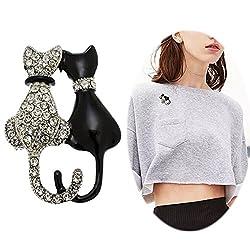 Fashion Cat Pin Women Punk Rhinestone Brooch Pin Inlaid Crystal Animal Breastpin Elegant Hat Sweater Pin Catch Scarf Or Lapel Unique Alloy Dress Decor With White Diamond Silver Black Cat