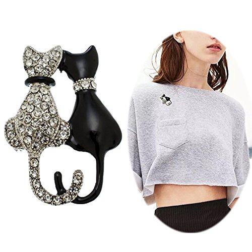 Fashion Cat Pin - Women Punk Rhinestone Brooch Pin - Inlaid Crystal Animal Breastpin - Elegant Hat Sweater Pin - Catch Scarf or Lapel - Unique Alloy Dress Decor with White Diamond Silver Black Cat