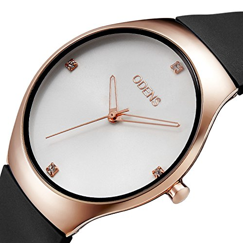 Women's Quartz Rhinestone Gold Watch with Black Rubber Watch band ,Casual Sports Dress Analog Wrist Watches for Girls