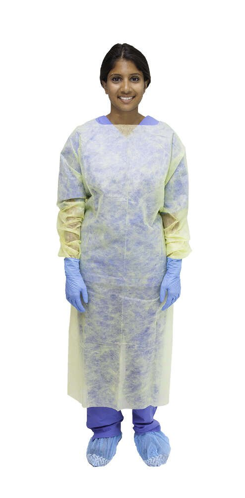 MediChoice Isolation Gowns, Open Back, Overhead, Thumbloop Cuff, Tie Waist, PSBPE, Universal, Yellow (Pack of 10)