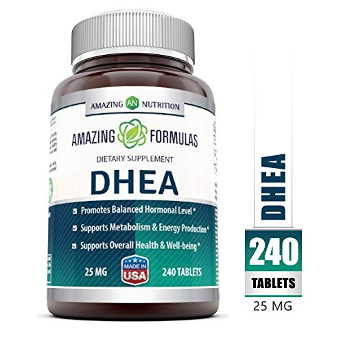 Amazing Formulas DHEA Dietary Supplement – 25 mg Pure – 240 Tablets Per Bottle – Promotes Balanced Hormonal Levels – Supports Metabolism & Energy Production, Balanced Hormonal Levels