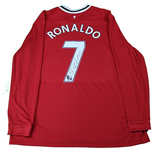 Cristiano Ronaldo Autographed Red Retro Manchester United Jersey Icons Authenticated