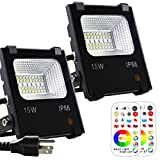 Yangcsl LED Flood Light Outdoor, 15W Color Changing Floodlight with Remote, 120 RGB Colors, Warm White to Daylight Tunable, IP66 Waterproof, US 3-Plug, 2 Pack