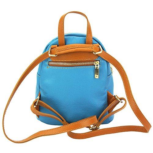 Becerro Azul Claro En Leather 9011 Lorella Bolsos Mochila Tipo Market De marrón Piel Florence ITPx0x