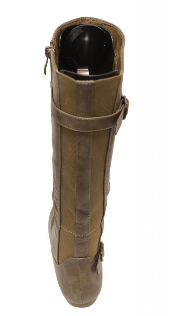 Top Moda Tab-77 Women's fine buckled straps decor round toe side zipper elastic rear design knee high flat PU boots Khaki 6.5 by Top Moda (Image #4)