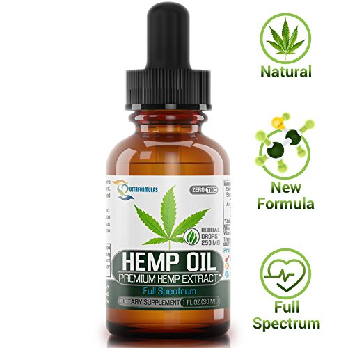 [Newest 2018] Formula Hemp Oil for Pain Relief Full Spectrum 250mg - Reduces Pain/Stress Support/Anti Anxiety/Sleep Supplements - Hemp Extract Oil Drops with MCT Fatty Acids by VitaFormulas