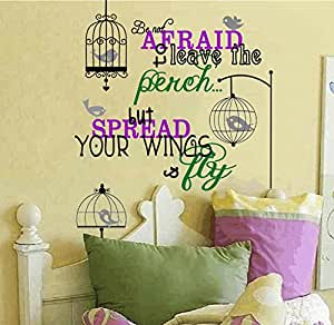 Spread Your Wings and Fly Bird and Birdcage Vinyl Wall Decal Inspiring Home D...