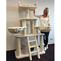 Cat Tree for Large Cats – Tiger Beige – 175cm 62kg 12cm Ø Poles – Total Size 175x100x60cm – Cat Scratcher Scratching Post Activity Center Cat Trees for Large Cats. Quality Product from Cat Tree King