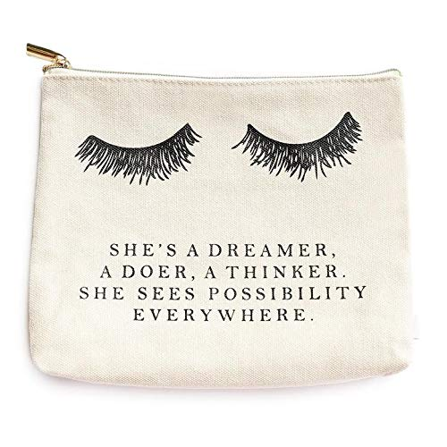 Eyelash She's A Dreamer Cotton Canvas Makeup Bag | Inspirational Motivational Gift for Her Makeup Organizer Eyelashes Make Up Bag Canvas Bag Lashes Toiletry Bag Cosmetic Bag Lash Travel Accessories
