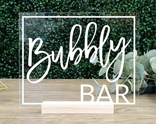 Acrylic Wedding Sign Dessert Bar Size: 5 x 7Not Include Stands Decorative Wedding Sign Unplugged Acrylic Sign Acrylic Dessert Table Sign Bubbly Bar Sign Bar Decoration