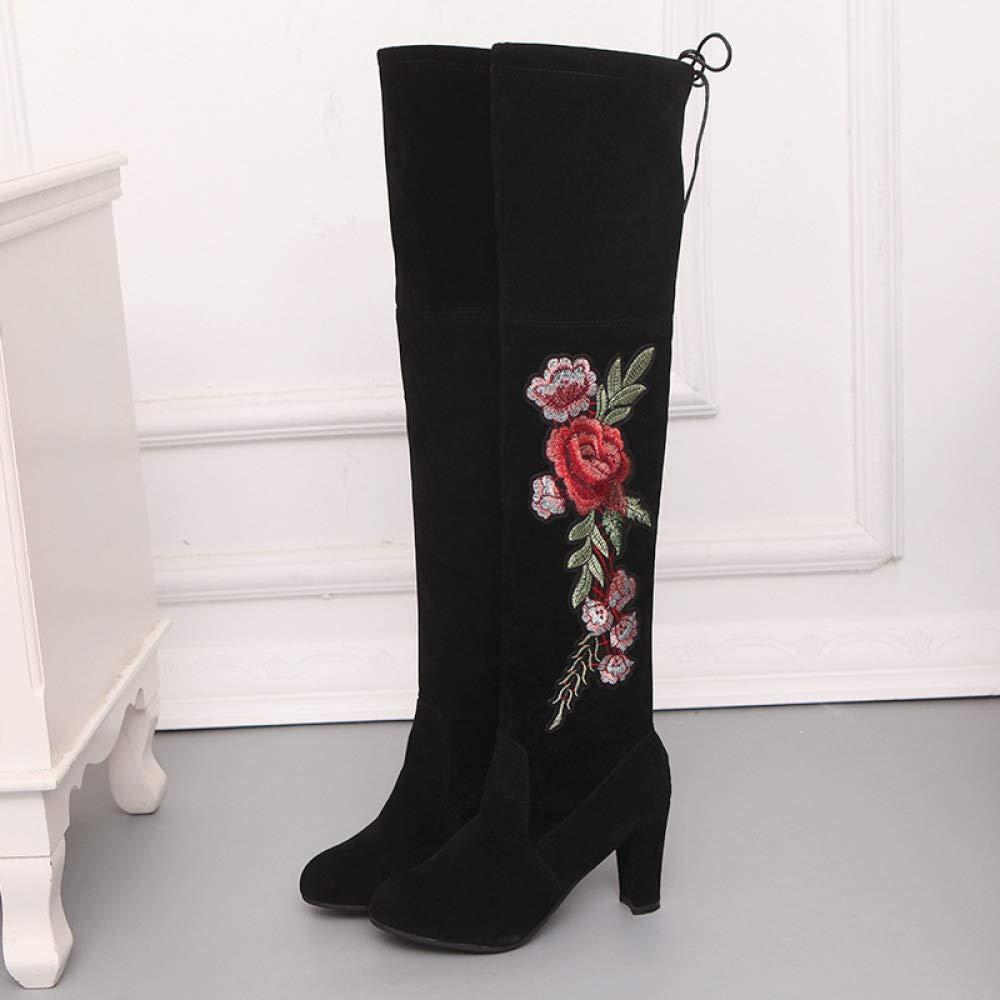 Frauen Stiefel Winter High Heels Bestickte Blaumen Dicke Frauen Lange Stiefel Wasserdichte Kniehohe Stiefel Große Warme Hohe Bein Damenschuhe