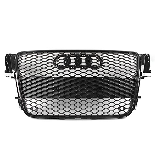 ZMAUTOPARTS For 2008-2012 Audi A5 / S5 B8 8T RS5 Style Honeycomb Mesh Hex Grille Gloss Black