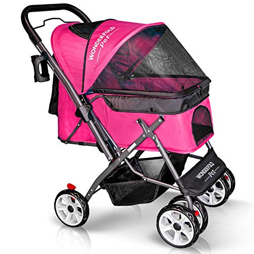 WonderFold Pet, 4 Wheels, Folding Pet Stroller for Dogs/Cats with Reversible Handle Bar, Zipperless Entry, Easy One-Hand Fold with Removable Liner, Storage Basket, Cup Holder