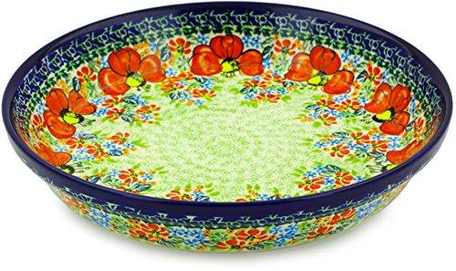 Polish Pottery Pie Dish 10-inch Garden Meadow UNIKAT by Polmedia Polish Pottery