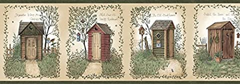Chesapeake CTR50321B Fisher Sage Country Outhouses Wallpaper Border (Wallpaper Country)