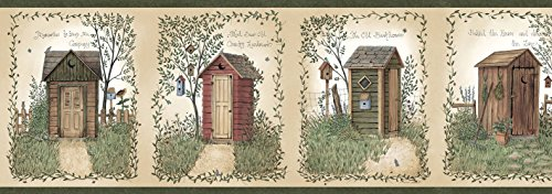 Outhouse Wallpaper Borders - Chesapeake CTR50321B Fisher Sage Country Outhouses Wallpaper Border