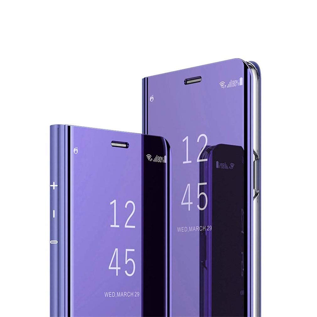 Hnzxy Case for Xiaomi Mi 8 Lite Wallet Case,Mirror Makeup Case Luxury Shiny Slim Clear View Stand PU Leather Case Flip Folio Case Kickstand Shockproof Bumper Case for Xiaomi Mi 8 Lite,Purple by Hnzxy