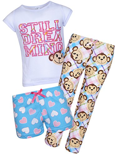 Monkey Sleep Sets - Sleep & Co Girl's 3-Piece Spring Pajama Set, Monkey, Size 12'