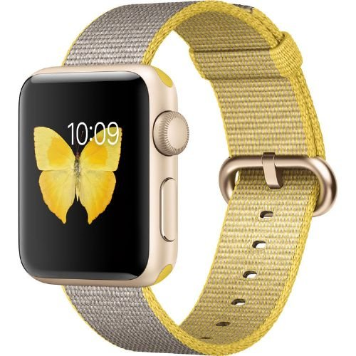 Apple Watch Series 2, 38mm Gold Aluminum Case with Yellow/Light Gray Woven Nylon Band by Apple