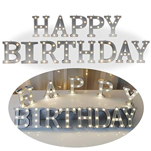 DELICORE Decorative Illuminated Marquee Word Sign Happy Birthday - Silver Color 4.21