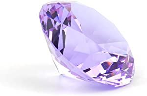 "Zoogamo 4"" / 100 mm Light Purple Diamond Shaped Glass Crystal Paperweight –Home Office Decor & Valentine's Day Gift Wedding Favors Centerpieces Decoration with Gift Box"