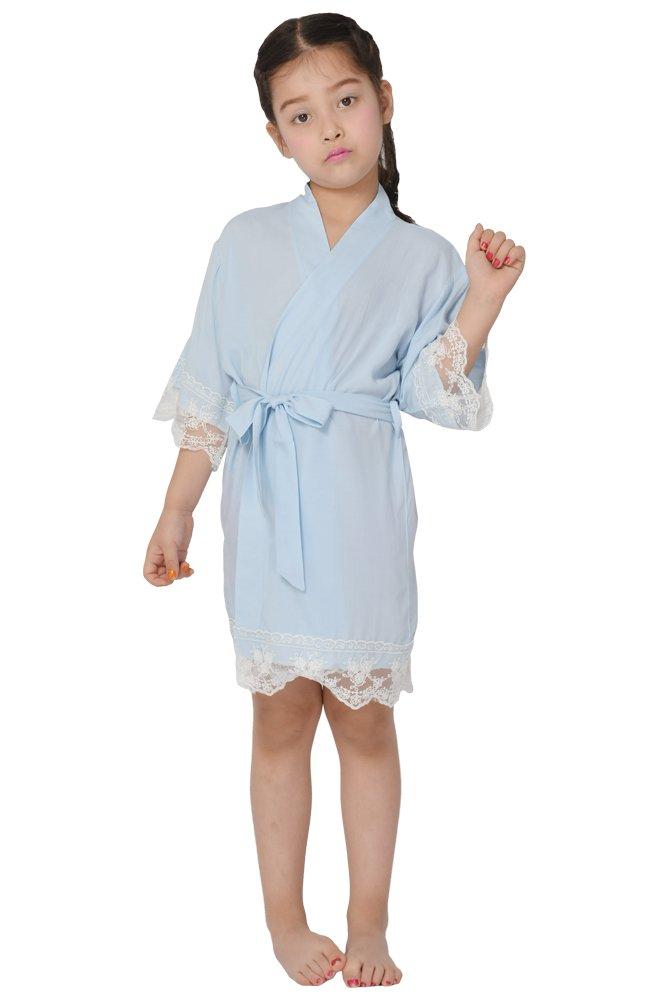 Cotton flower Girl Kimono robe,Bridal party kids lace robe ,Junior bridesmaid robe for wedding gift 5M-VWKE-9V8B