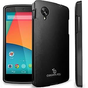 Nexus 5 Case, Caseology® [Leather Skin] Premium PU Leather Case [Black] [Shock Absorbent TPU] for Google Nexus 5 - Black