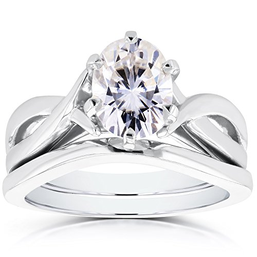 Forever-One-DEF-Oval-Moissanite-Solitaire-Crossover-Bridal-Set-1-12-CTW-14k-White-Gold