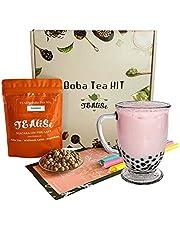 Tealise Instant Boba Tea Strawberry Tapioca Jumbo Straw Bubble Tea kit
