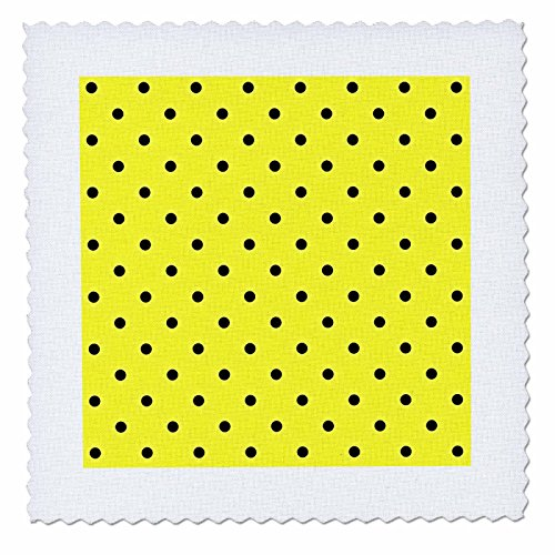 3dRose qs_53535_4 Bumble Bee Inspired Polka Dots in Yellow and Black Art Quilt Square, 12 by 12-Inch Polka Rose Square