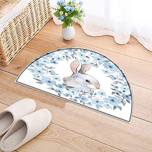 Flower Rug Cocoa (Non Slip Semicircle Rugs Flower Bunny Rabbit Portrait in Wreath Style Blue White Cocoa Living Dinning Room and Bedroom Rugs W37 x H26 INCH)