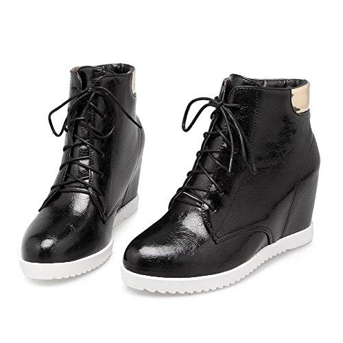 Closed High Farbe Heels Schwarz PU AgooLar Womens Stiefel Round Toe Sortierte Knöchelhohe 78EqXY