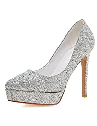 COOLCEPT Women Fashion Stiletto Pumps Sexy Glitter Wedding Party High Heel Shoes