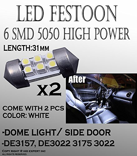 Price comparison product image JDM 31mm 3021 3022 LED Car doom Light Bulbs 6-SMD Car Festoon White Bulbs