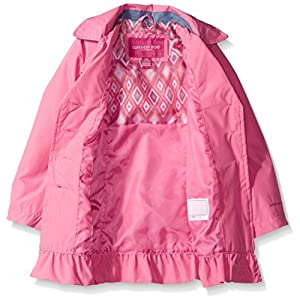 London Fog Little Girls' Single Breasted Trench Coat, Coral Reef, 5/6