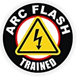 1 Pcs Lavish Unique ARC Flash Trained Window Sticker Signs Mac Apple Macbook Laptop Luggage Hoverboard Wall Graphics Emergency Arc Badge Safety Helmet Decal Decor Vinyl Art Stickers Patches Size 2""