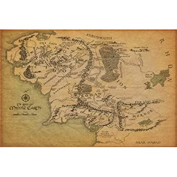 Amazoncom The Lord Of The Rings  Giant Movie Poster  Map Of
