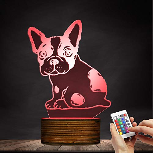 Novelty Lamp, Optical Illusion 3D LED Lamp Night Light French Bulldog, USB Powered Remote Control Changes The Color of The Light, Bedroom Table Lamp, Children's Gift, Home Decoration,Ambient Light by LIX-XYD (Image #1)
