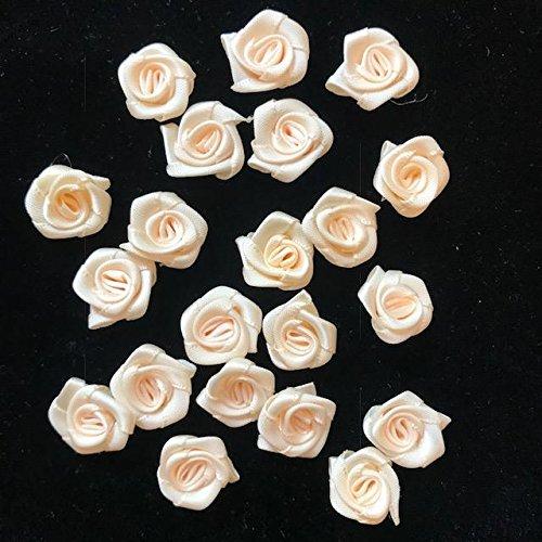 5/8'' inch 18mm Small Cream Rose Flower Small Satin Ribbon Rose Flower Cream Rose Flower Handmade Rose/50 pieces ()