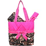 New Design Camo Quilted 3pcs Diaper Bag-hotpink by NGIL