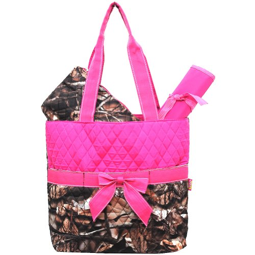 New Design Camo Quilted 3pcs Diaper Bag-hotpink by NGIL by NGIL