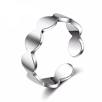 TARDOO 925 Sterling Silver Wave Open Simple Adjustable Ring Fashion Charm Cuff Jewellery for Women Mix Match GxJ92q