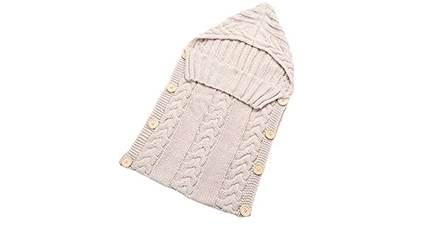 Amazon.com: Baby Blankets Swaddle Wrap Wood Button Knitting Sleeping Bag Envelope - Beige: Baby